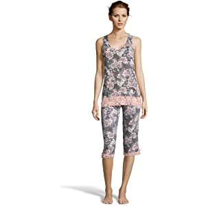 Kathy Ireland Womens Two Piece Tank Top and Capri Pant Sleep Set with Lace Trim