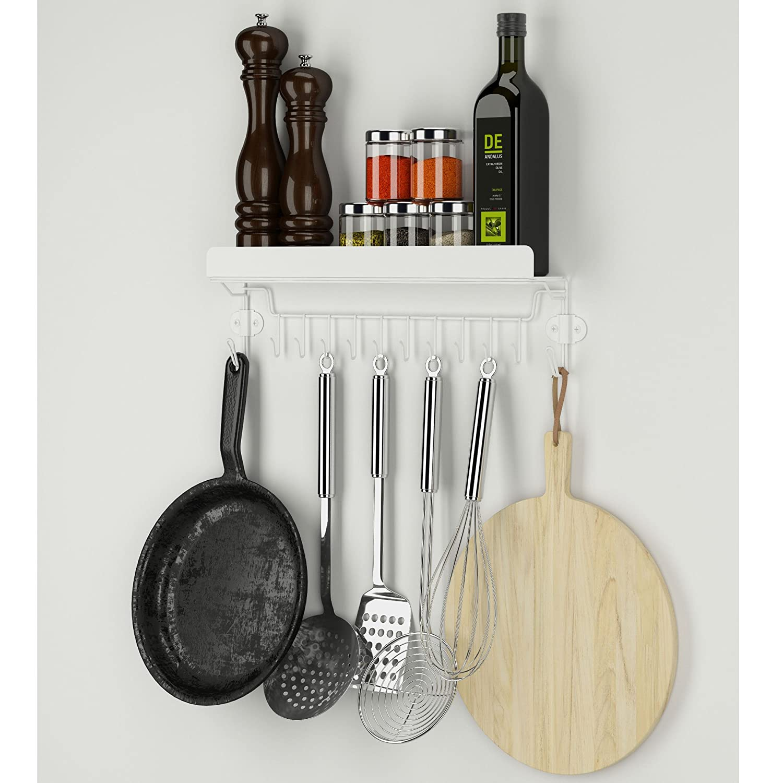 Wallniture Kitchen Storage Steel Hanging Utensil Organizer Spice Rack with 12 Hooks White Set of 2