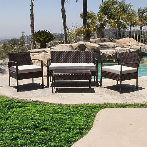 BELLEZE 4PC Rattan Sectional Patio Furniture Set