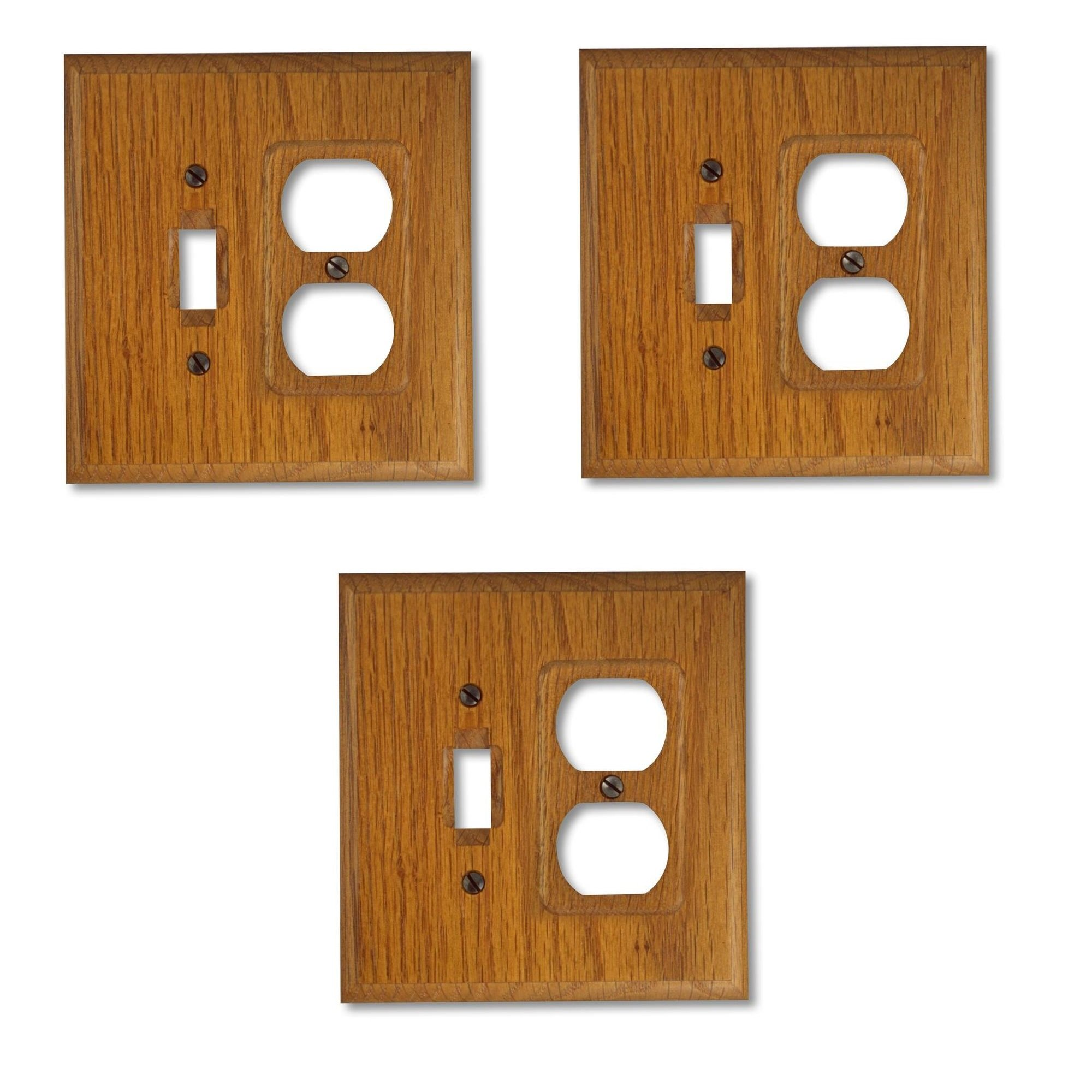 Square Wood Wall Plate Cover, 1 Toggle Switch & 1 Duplex Outlet, Solid Oak (3-pack)
