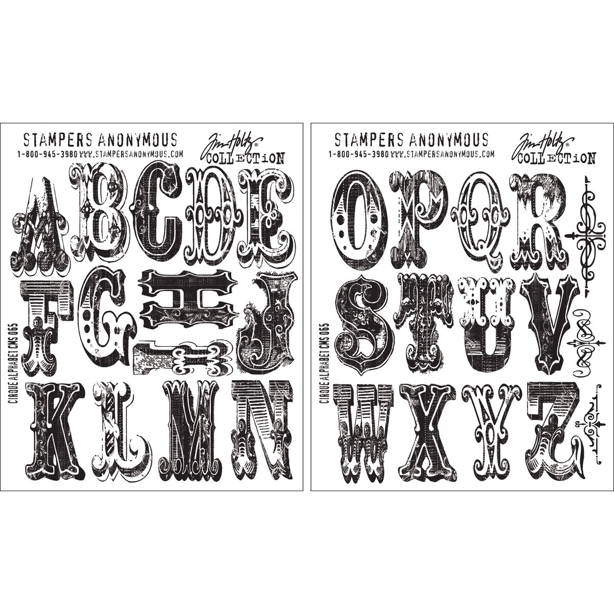 Stampers Anonymous Tim Holtz Cling Rubber Stamp, 7 by 8.5-Inch, Cirque Alphabet by Stampers Anonymous (Image #1)