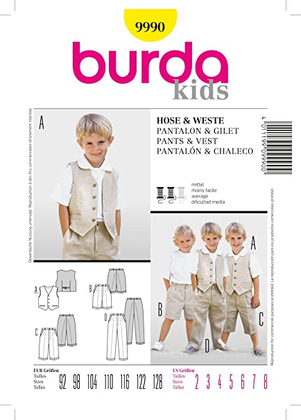 Burda Sewing Pattern 9990 For Boys Pants Vest In Sizes 2 8