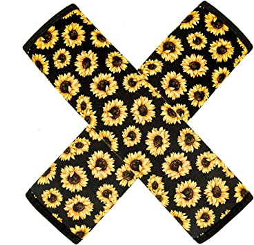 BIGCARJOB Sunflower Car Seat Belt Pad Cover 2-Pack Soft Car Safety Seat Belt Strap Shoulder Pad for Adults Children