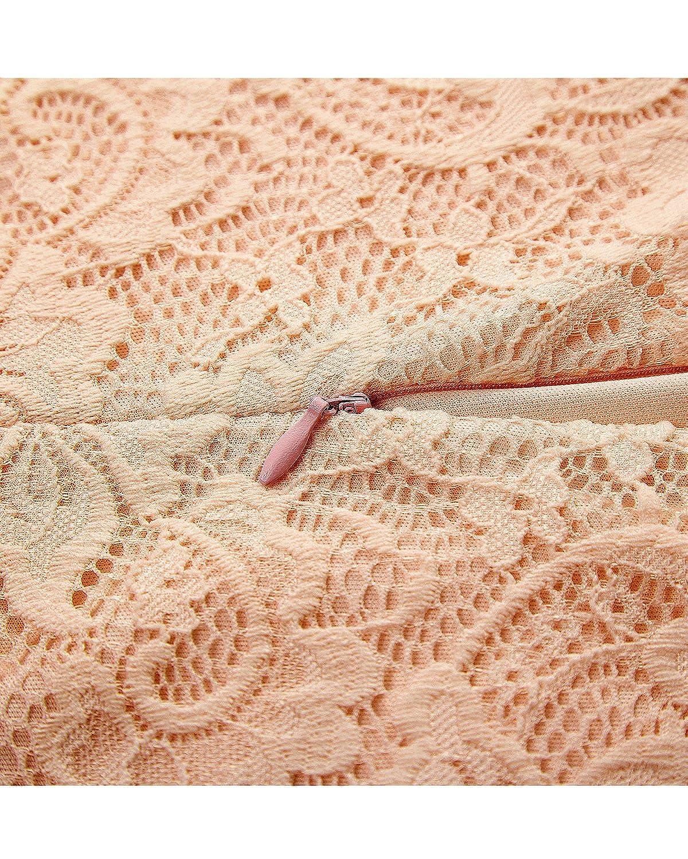 Bridesmay Robe Dentelle Femme Chic Printemps Et/é Vintage Robe de soir/ée de Cocktail Robe de Demoiselle dhonneur Pin up Col en V Manches Courtes