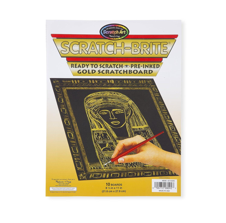Melissa & Doug Scratch Art Scratchboard - 10-Pack, Shimmering Gold on Black Background 8092
