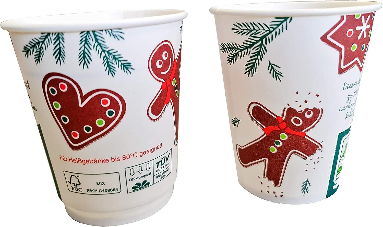 Made in Germany 75 Bio Gl/ühweinbecher Einweg kompostierbar Gl/ühwein to go BecherLebkuchenmann einwandig FSC+PLA alkoholbest/ändig 0,2l 200ml Eichstrich//F/üllstrich f/ür Weihnachten /& Weihnachtsmarkt