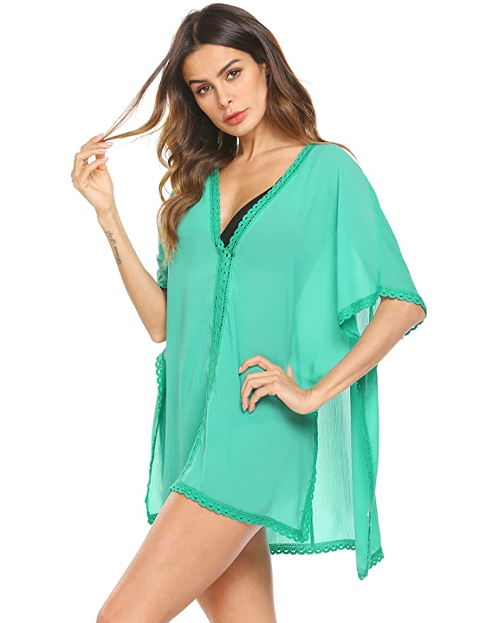 526623da4285 Dealwell Womens Mesh Lace Beach Cover up Swimsuit Loose Chiffon Beach Dress  at Amazon Women's Clothing store: