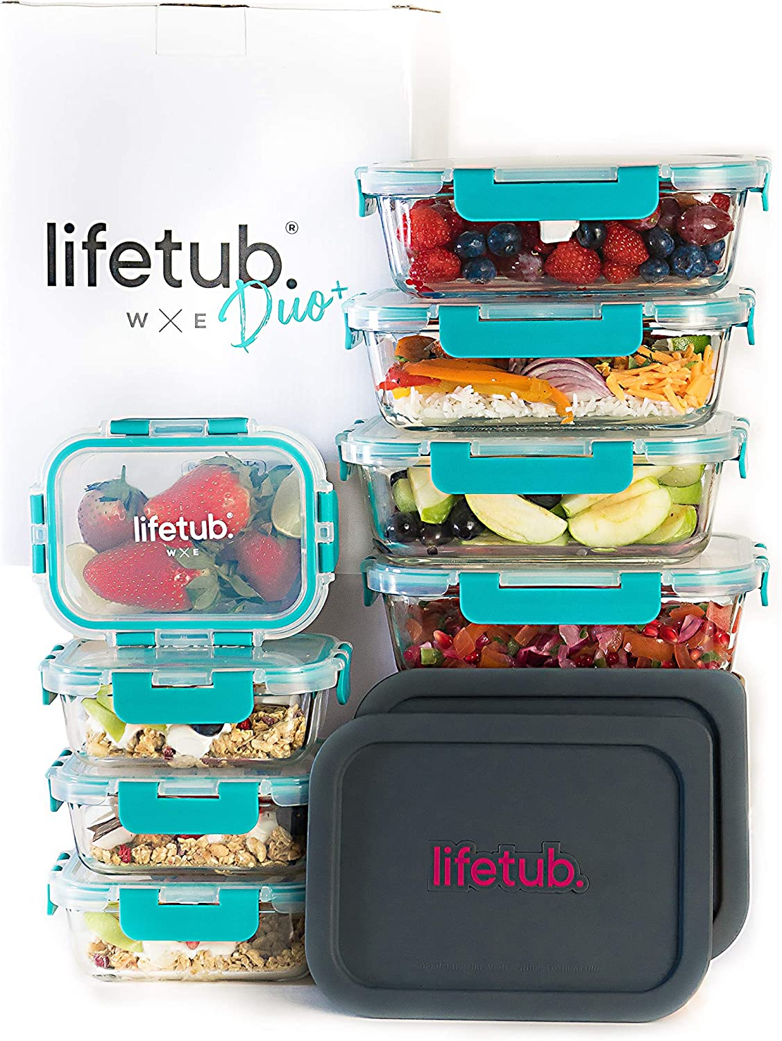 lifetub Duo+ - Large Glass Meal Prep Containers 10 Pack, 2 Sizes (4x35oz, 4x12.5oz) 2x Reheat Silicone Lids - Glass Food Storage Containers with Lids Airtight, Food Storage, Food Containers BPA Free