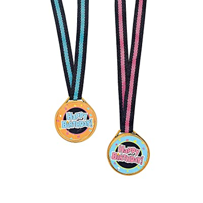 Fun Express Happy Birthday Award Medals (Set of 12) Party Supplies and Favors: Toys & Games