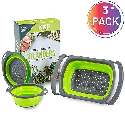 Kool Kitchen Pros Juego de 3 Coladores - Coladores Plegables - Colador Silicona sin BPA - Escurridor de Cocina como colador de Pasta, colador ...