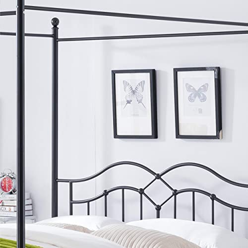 Christopher Knight Home Simona Traditional Iron Canopy Queen Bed Frame