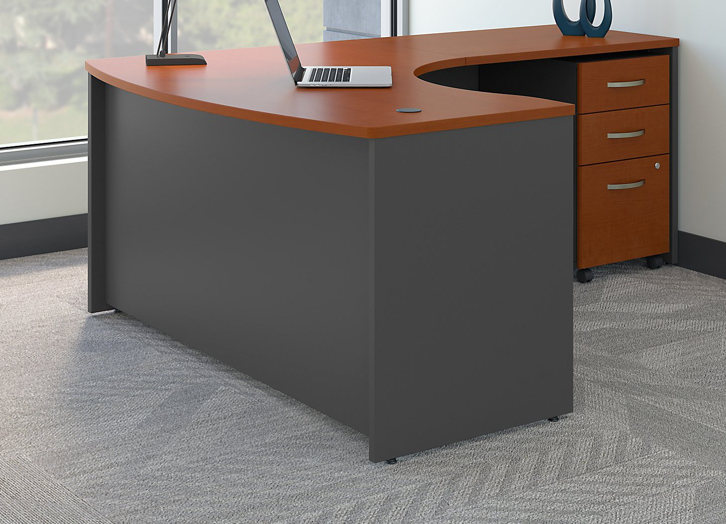 Bush Business Furniture Series C Right Handed L Shaped Desk with Mobile File Cabinet in Auburn Maple by Bush Business Furniture