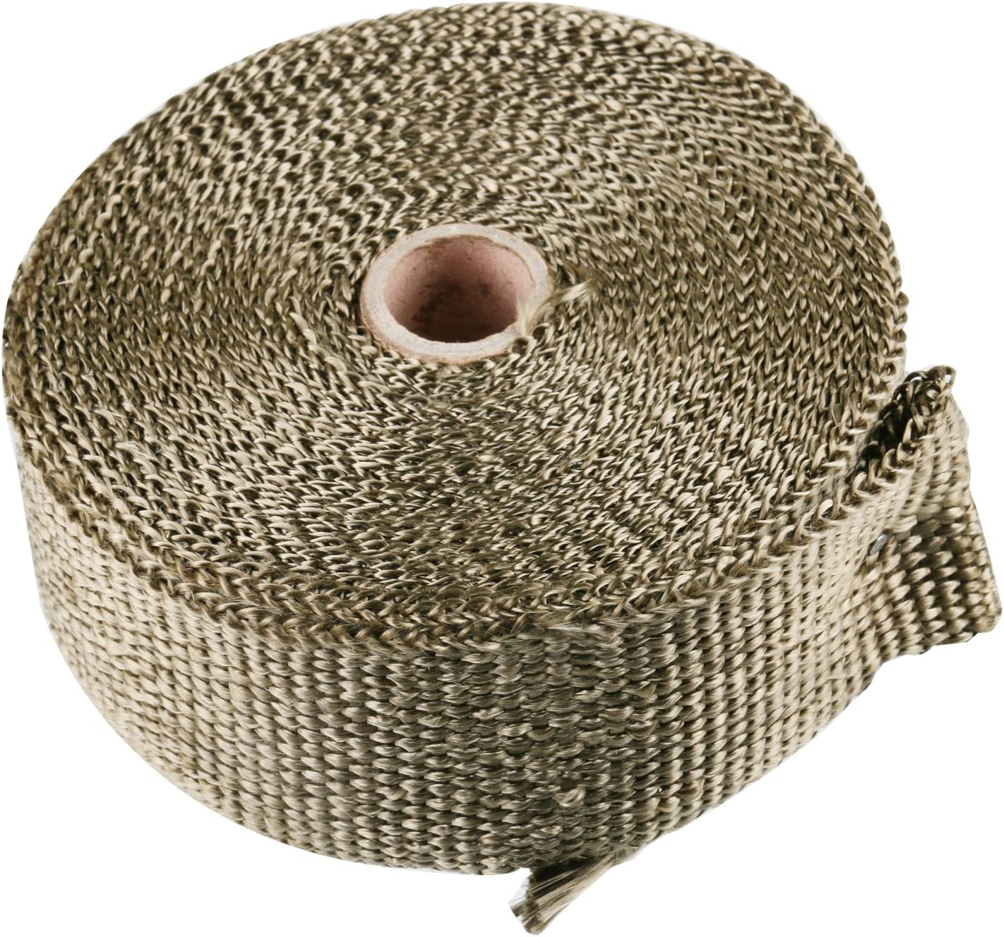 16.5 ft x 2 in Titanium Heat Wrap Exhaust Heat Shield Wrap Roll Basalt Fibre for Motorcycle Vehicle Boats Heat Proof Tape 6pcs Stainless Cable Ties