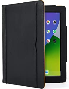 S-Tech Case for Apple iPad Pro 12.9 4th Generation (2020 Model Only) - Soft Leather Magnetic Smart Cover Wallet Card Folio Stand - Multiple Viewing Angles with Pencil Holder Loop (Black)