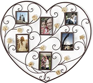 Metal Picture Frames Heart-Shape Collage Photo Frame for Wall Hanging Decorative with 6 Openings, Burlap Flowers Décor