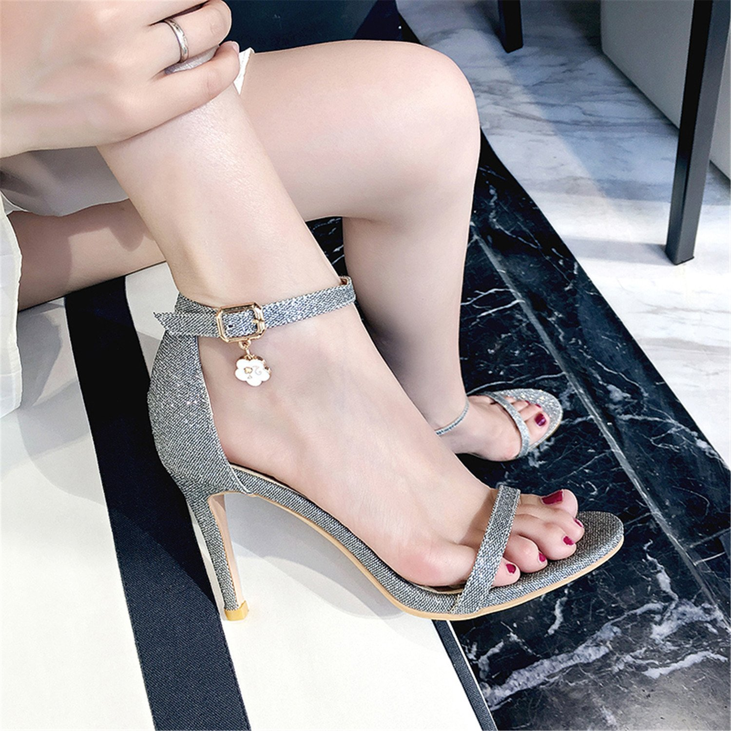 Twinkle UU 2018 Summer Women Sandals Open Toe Shoes Bling Footwear 2018 UU Party Shoes Big Size 47 B07DQLB789 6 M US|Beige Pu 5c37eb