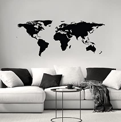 Amazon stickerbrand black world map wall decal sticker home stickerbrand black world map wall decal sticker home decor vinyl wall art large 42in gumiabroncs Image collections