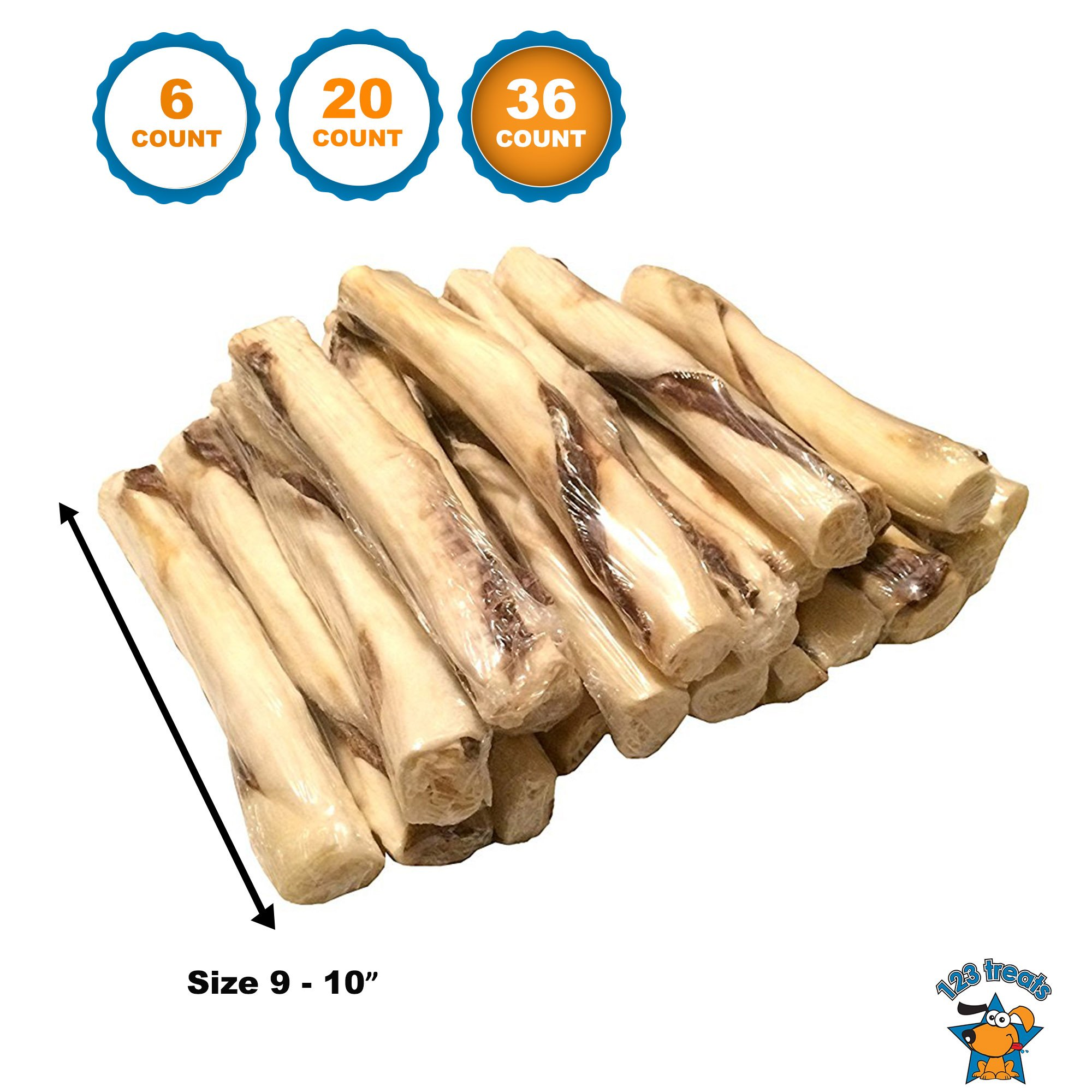 123 Treats | Beef Jerky and Rawhide Twister Retriever Rolls (36 Count) 9-10'' Inches Dog Sticks
