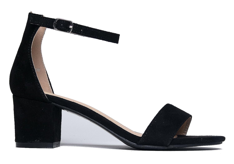 5225e8331 Amazon.com   J. Adams Ankle Strap Kitten Heel - Adorable Low Block Heel -  Daisy   Heeled Sandals