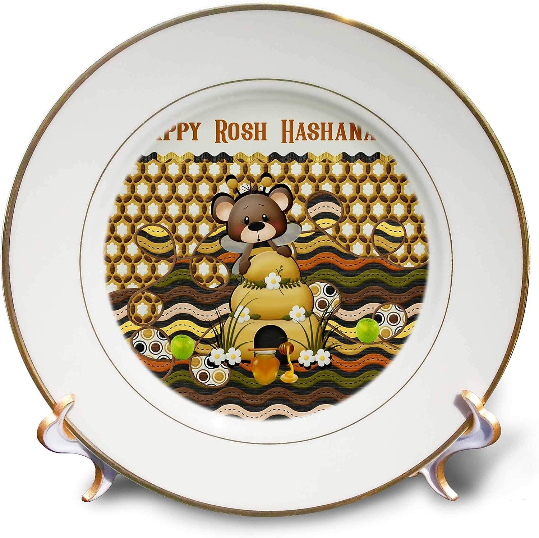 3dRose Beverly Turner Rosh Hashanah Design - Image of Rosh Hashanah Bee Bear, Honeycomb, Apples, Jar, and Bee Hive - 8 inch Porcelain Plate (cp_325238_1)