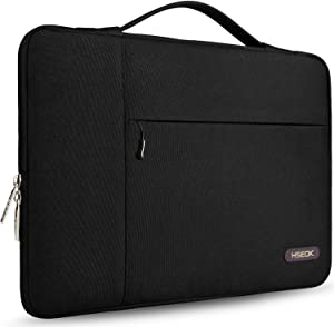 Hseok Laptop Sleeve 15 15.6 16 Inch Case Briefcase, Compatible MacBook Pro 16 15.4 inch, Surface Book 2/1 15 inch Spill-Resistant Handbag for Most Popular 15-16 inch Notebooks, Black