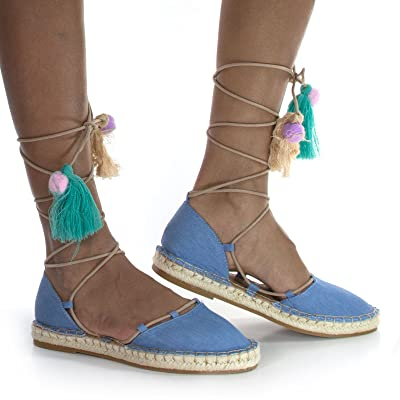 Womens Espadrille Lace Tie Up Strappy Flat w/ Colorful Fiesta Tassel