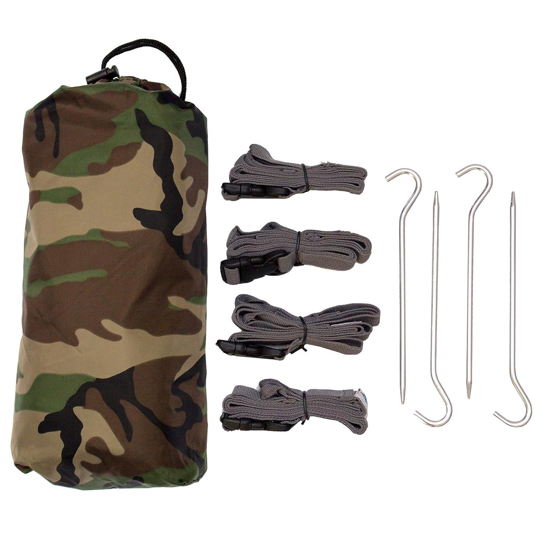 Aqua Defender Quest Defender Aqua Tarp & Accessories Kit - 100% Waterproof & Heavy Duty Nylon Material - 10 x 7 ft Tarpaulin, 4-pc Boa Adjustable Strap Set, 4 Lightweight Pegs - Medium   Small - Camo, Camouflage by Aqua Quest d12ef0