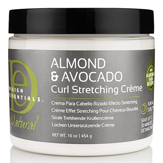 Design Essentials Natural Curl Stretching Crème to Elongate, Define, Smooth Medium to Course Natural Hair Textures-Almond & Avocado Collection, 16oz.