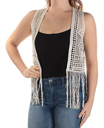 Denim Supply Ralph Lauren Womens Crochet Fringe Vest Beige M At