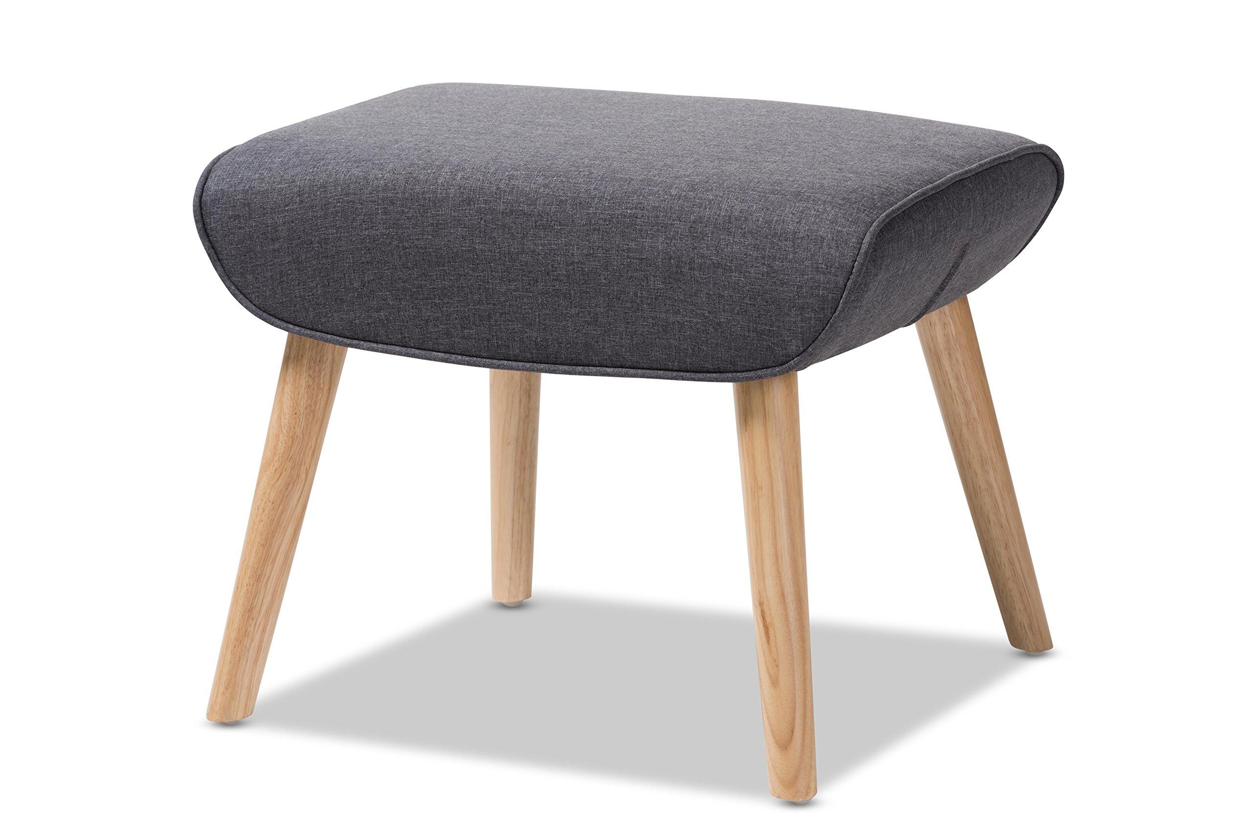 Baxton Studio 424-8130-AMZ Payton Mid-Century Modern Fabric Upholstered Natural Finished Wood Ottoman, Dark Grey