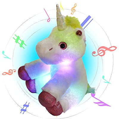 Glow Guards Light up Musical Stuffed Unicorn Soft Plush Toy with LED Night Lights Nursery Songs Glow Singing Birthday for Toddler Kids, 13'': Toys & Games