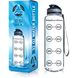 New 32 oz Clear Sports Water Bottle, Best for Measuring H2o Intake, Tritan BPA Free, Time Tracker w/Goal Timer, Non-Toxic, Top Plastic Product - Hydration Drink Marker Helper