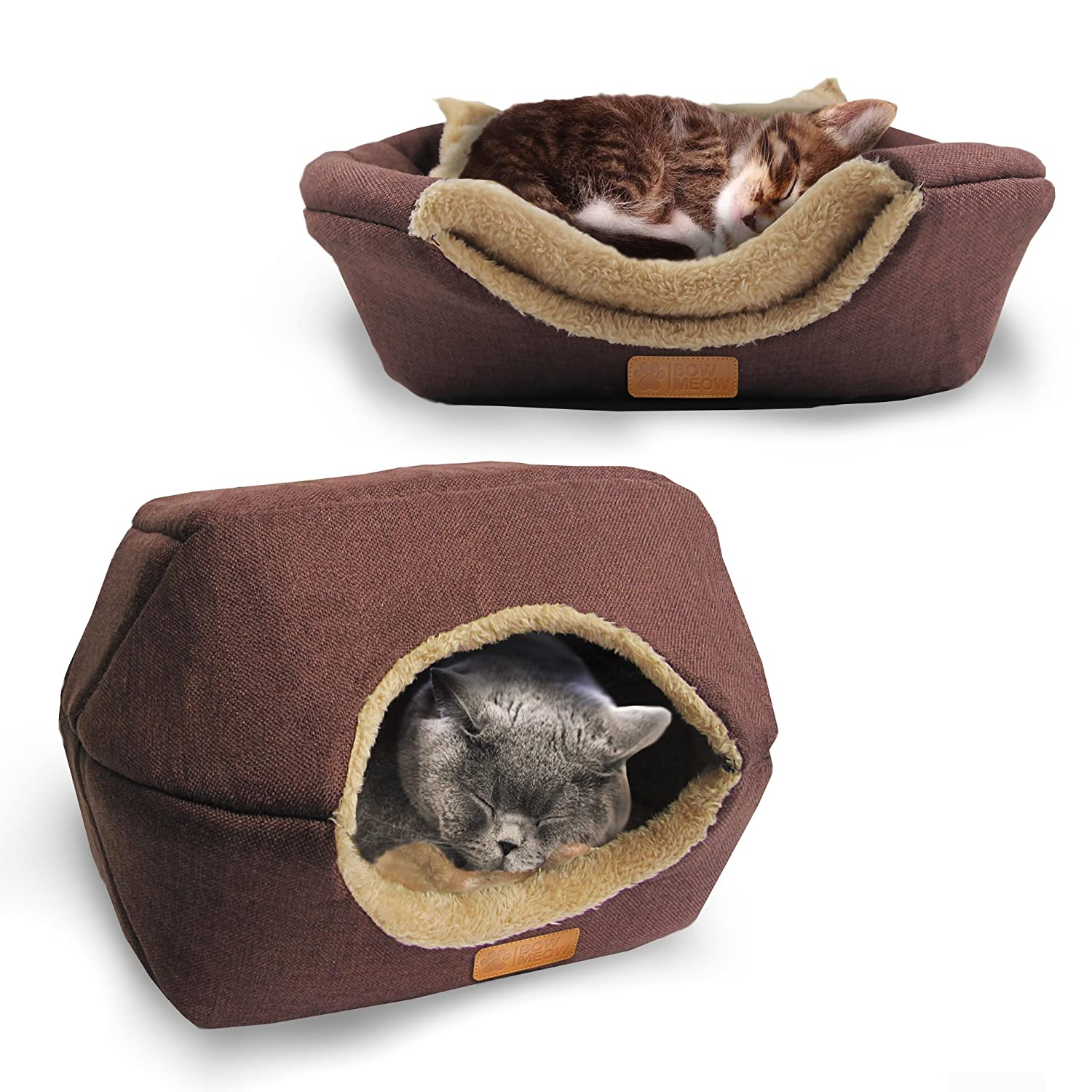 Brown Cotton 18\ Brown Cotton 18\ Bow Meow Premium Pet Bed Cave, Cat Bed and Cave, Small Dog Bed, 2-in-1 Foldable Pet Bed with Thick Organic Cotton, Soft, Warm, Washable pet Bed with a Pillow.