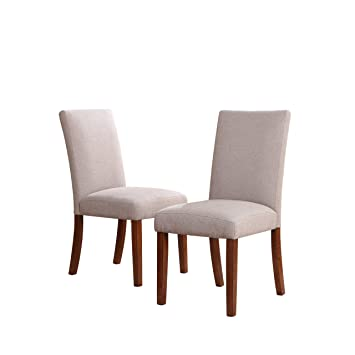 Superb Dorel Living Linen Chairs, Taupe, Set Of 2