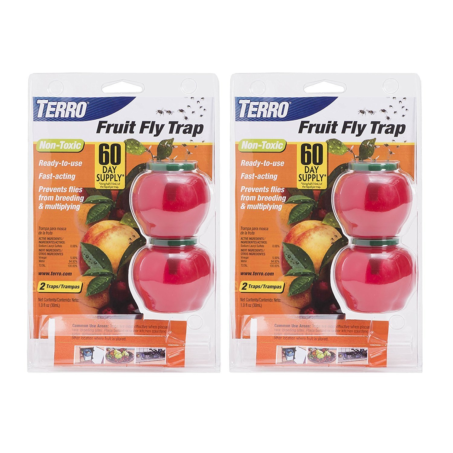TERRO Fruit Fly Trap T2502 (2 Pack of 2) - Includes the SJ pest guide eBook 2017