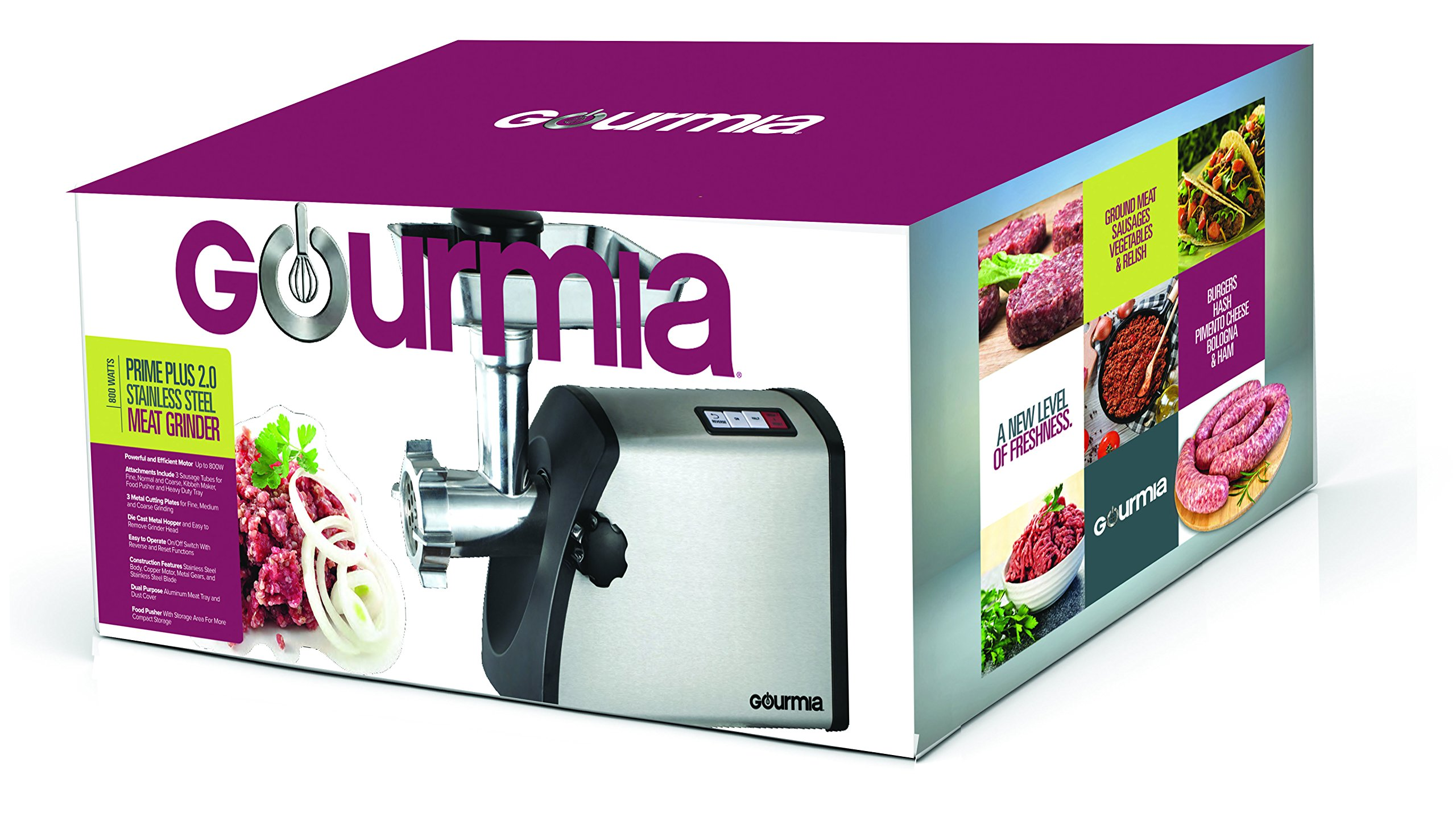 Gourmia GMG7500 Prime Plus Stainless Steel Electric Meat Grinder Different Grinding Plates, Sausage Funnels And Kibbeh Attachment Recipe Book Included 800 Watts ETL Approved 2200 Watts Max. - 110V by Gourmia (Image #8)
