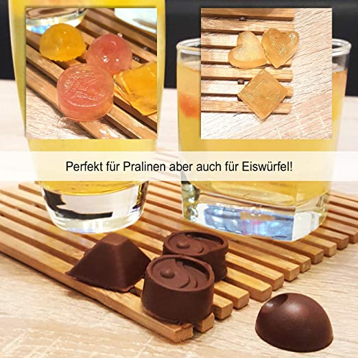 COM-FOUR® 3 moldes de silicona para chocolates, chocolates cuadrados para 15 chocolates cada uno o cubitos de hielo. (03 piezas - angular): Amazon.es: Hogar