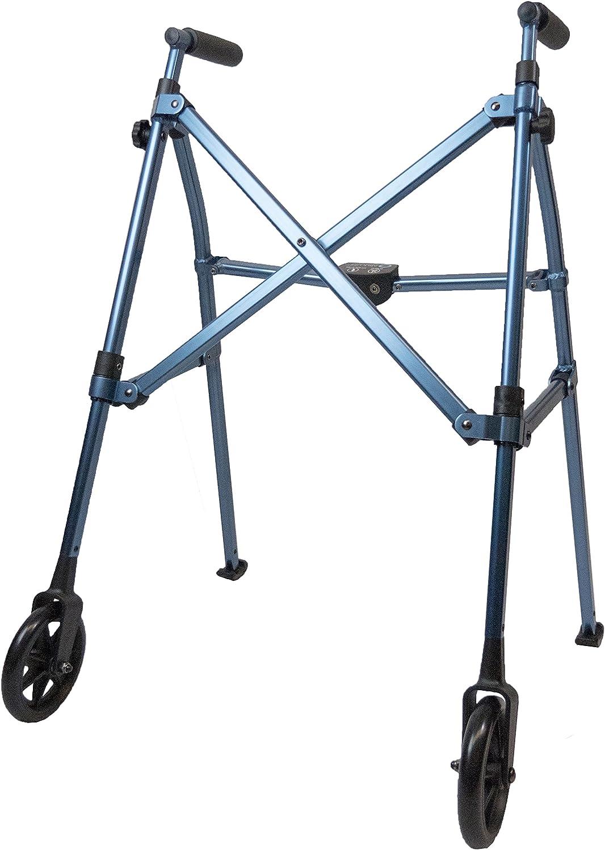Able Life Space Saver Walker, Lightweight Folding 2 Wheel Travel Walker for Seniors with Fixed Wheels, Cobalt Blue