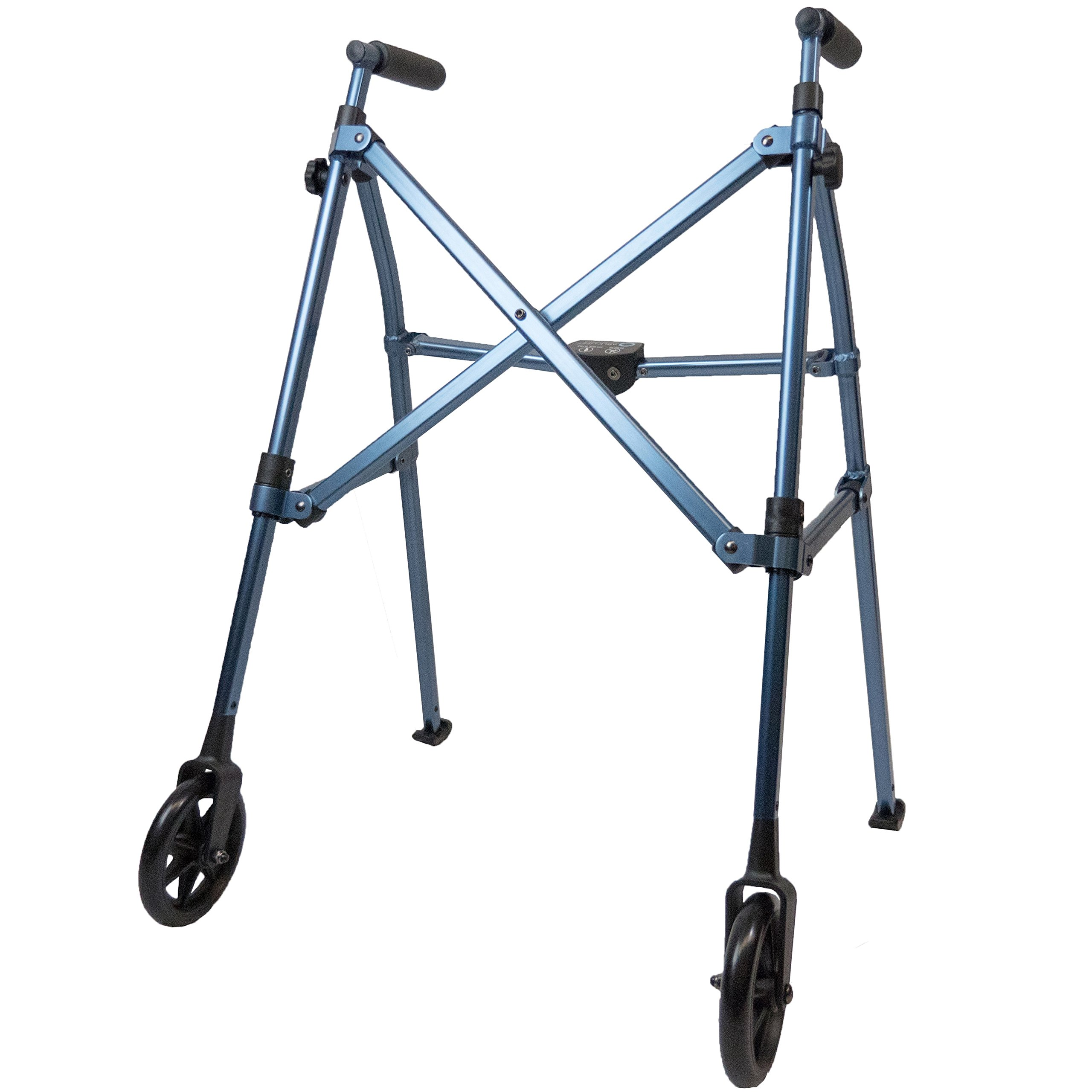 Able Life Space Saver Walker - Lightweight Folding & Height Adjustable Adult Travel Walker for Seniors + Fixed Wheels & Rear Glides - Cobalt Blue