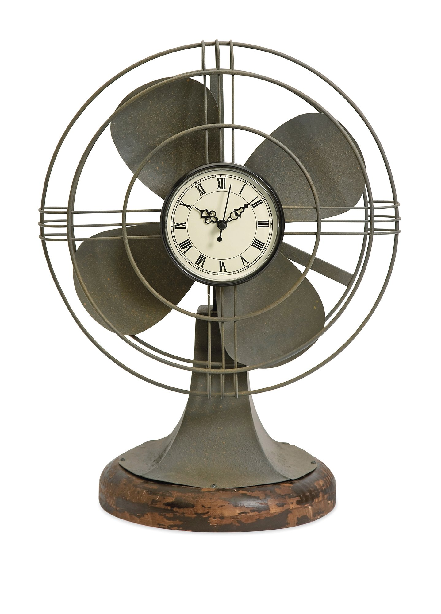 """CC Home Furnishings 17.5"""" Decorative Retro-Style Table Fan with Clock Face and Wood Base"""
