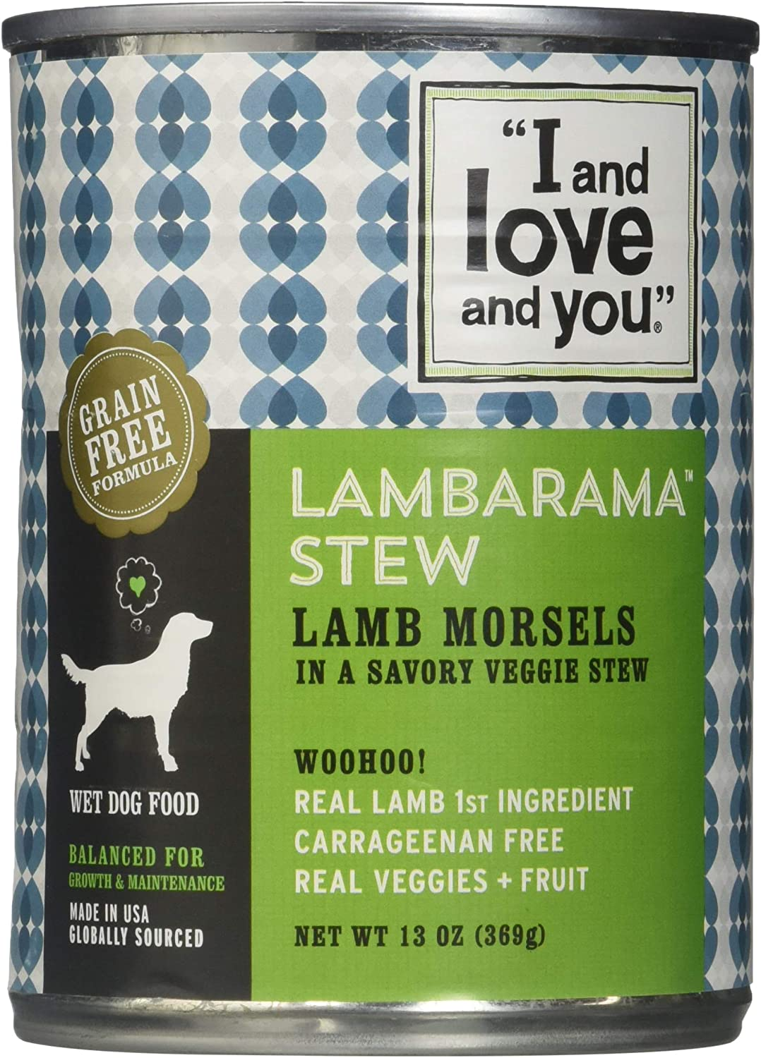 I AND LOVE AND YOU Lamb Stew Canned Dog Food, 13 OZ