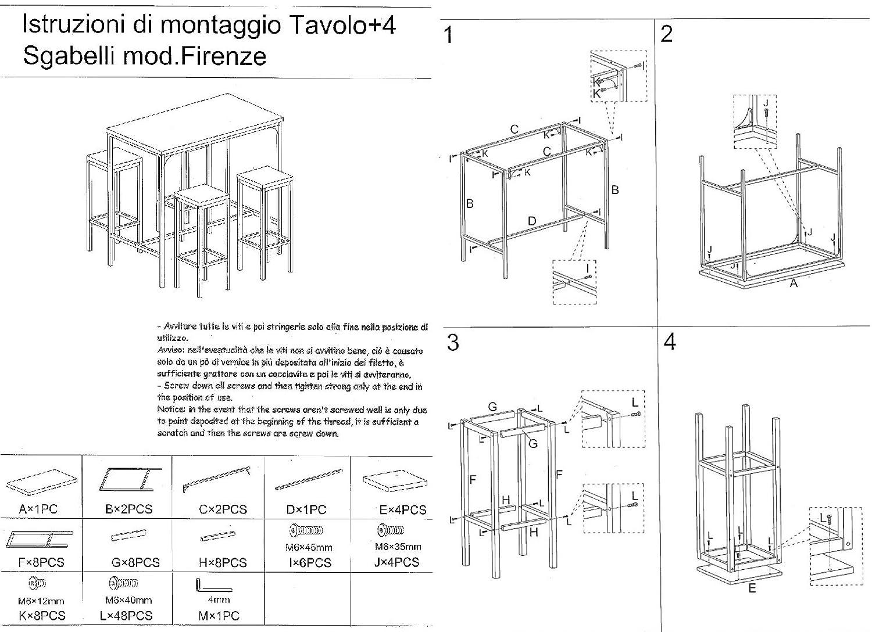 Firenze Set Tavolo Bar Rettangolare e 4 SGABELLI Marrone Tavolo 110x66xH110cm YELLOO MOD