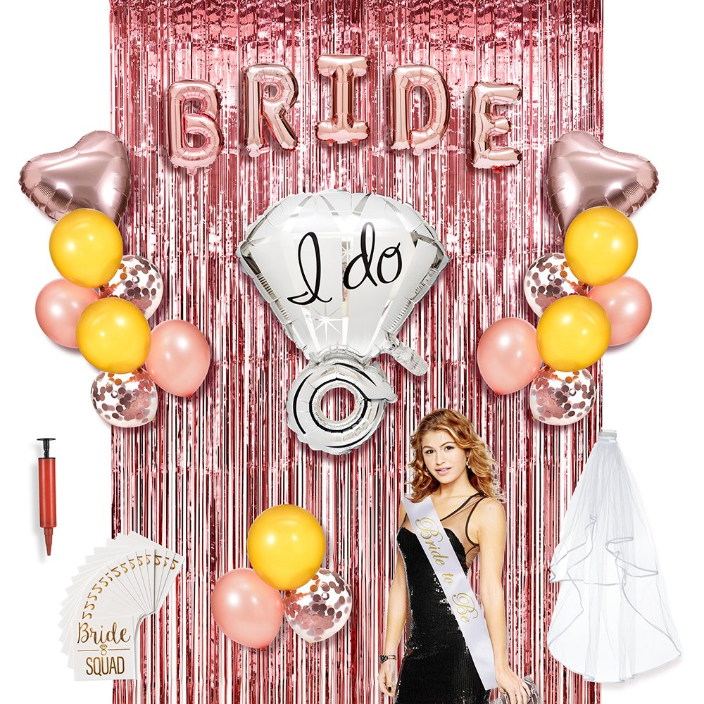 Bachelorette Party Decorations, HOMOR 60Pcs Rose Gold Bridal Shower Kit, Bride and Ring Foil, 2 Metallic Foil Fringe Curtains, Heart Foil and Latex Balloons, Bride to Be Sash and Veil, Gold Tattoos by HOMOR