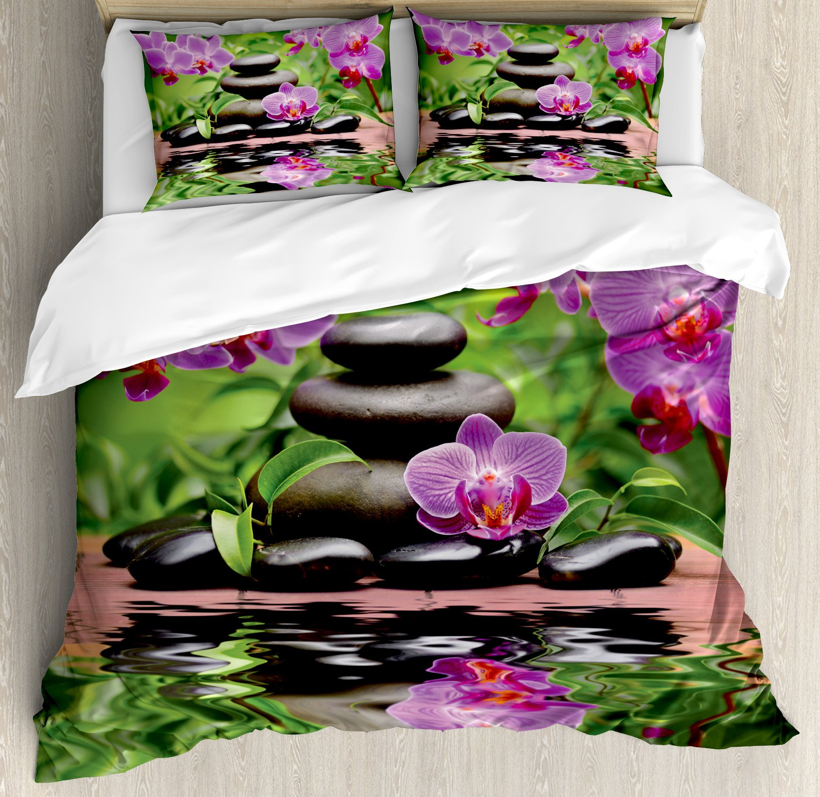Spa Decor King Size Duvet Cover Set by Ambesonne, Zen Basalt Stones and Orchid Reflecting on Water Greenery Wellbeing Tropical, Decorative 3 Piece Bedding Set with 2 Pillow Shams