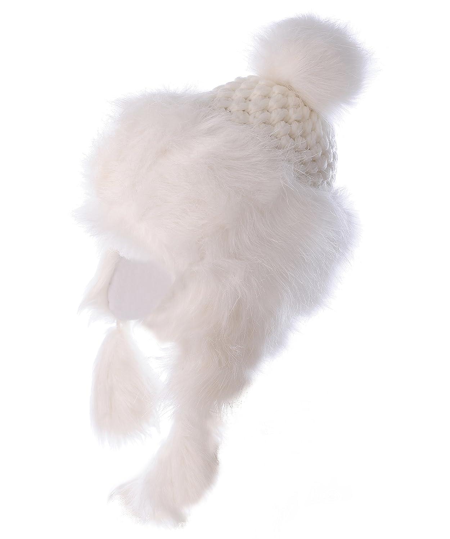 BRUBAKER Damen Tschapka Fellmützes in lieblichem Vintage Strick mit breitem Fellrand