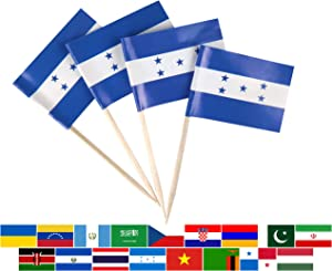 JBCD 100 Pcs Honduras Flag Toothpicks Honduran Flags Cupcake Toppers Decorations, Cocktail Toothpick Flag Cake Topper Picks Mini Small Flag Cupcake Pick Sticks