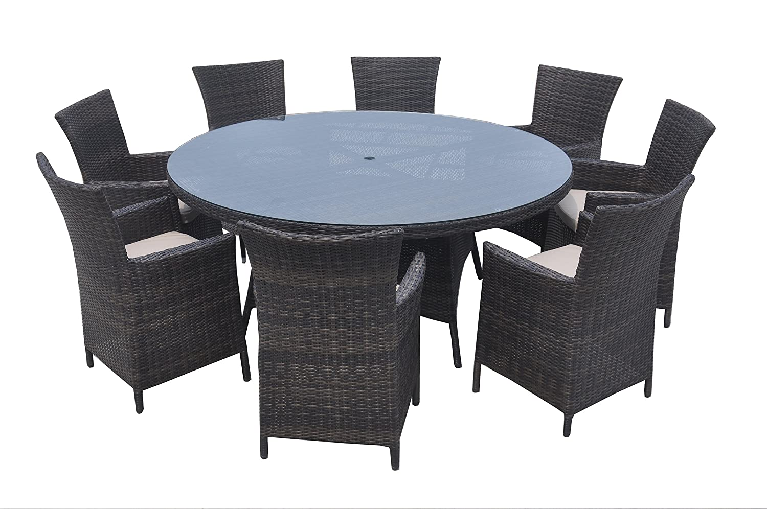 9 Piece Wicker Dining Sets, Patio Round Dining Set – Taupe