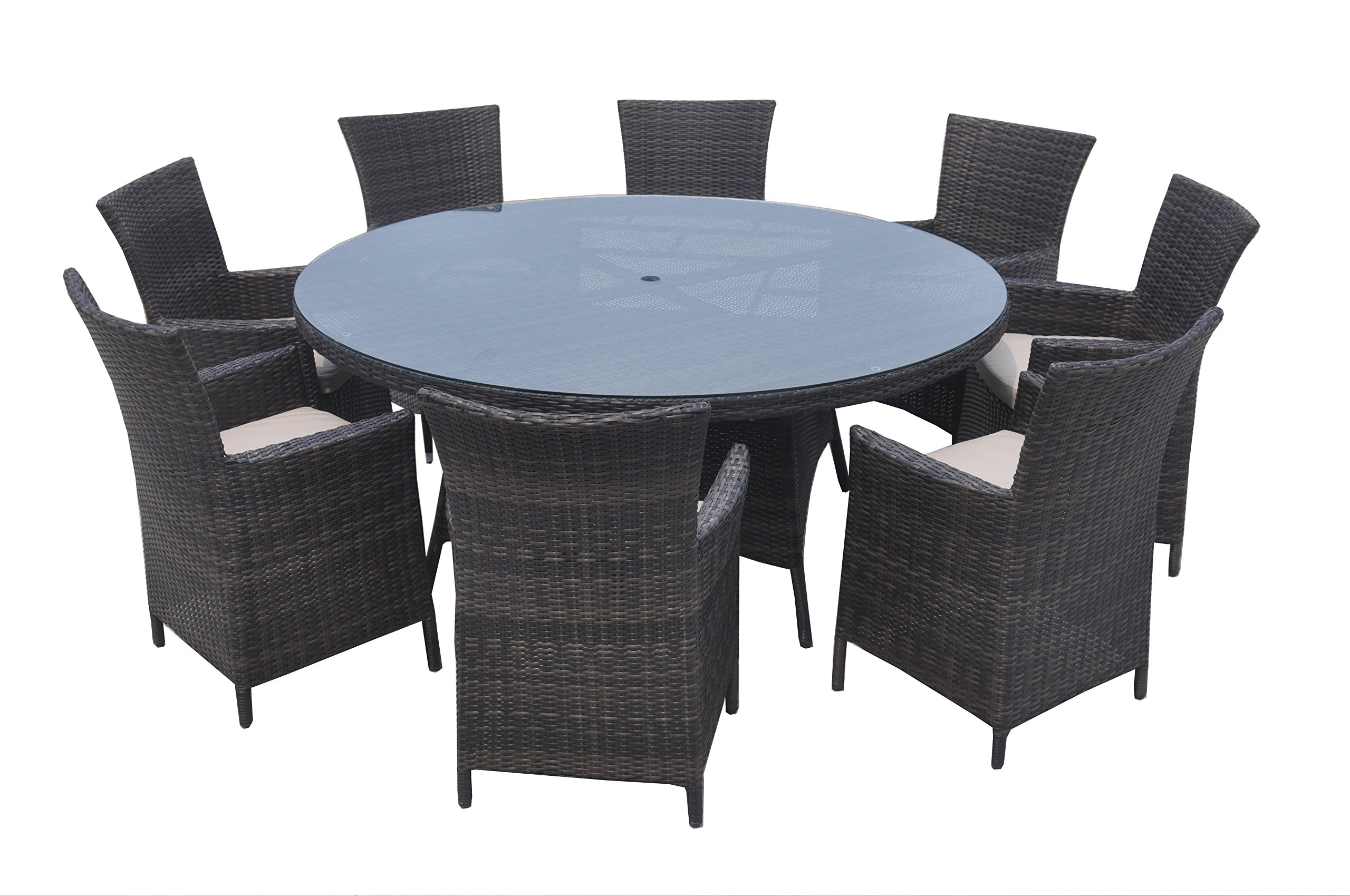 9 Piece Wicker Dining Sets, Patio Round Dining Set - Taupe - Aluminum frame: resist warping, twisting, and rust; plus they're lightweight and easily portable Polyethylene rattan: designed to look like beautiful hand woven wicker, these frame exteriors also resist UV and moisture damage Polyester cushions: 5cm thick, foam-filled for comfort, resistant to fade and moisture - patio-furniture, dining-sets-patio-funiture, patio - 81bnC GkQsL -