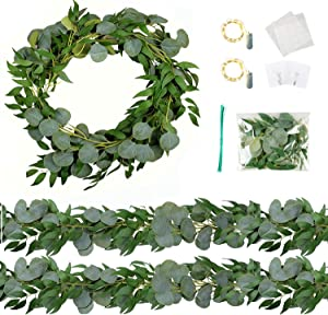 Trimgrace 4 Pack 6.5 Feet Artificial Silver Dollar Eucalyptus Leaves Garland with Willow Leaves Vine Greenery for Wedding Party Home Centerpiece Table Garland Greenery Decor Indoor Outdoor