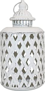 MISIXILE Metal Decorative Candle Lanterns Rustic Hollow Carved Candle Holders Vintage Hanging Lantern for Wedding, Patio Parties, Indoor Outdoor Garden Party Decor Valentine Gift(White)